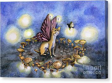 Faerie Dog Meets In The Faerie Circle Canvas Print
