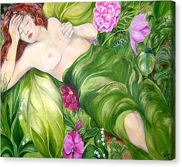 Canvas Print featuring the painting Faery Dreams by Nadine Dennis