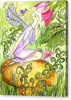 Canvas Print featuring the painting Faery On A Mushroom by Nadine Dennis