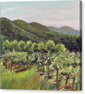 Fainting Goat Valley - Vineyards -  Jasper, Ga Canvas Print by Jan Dappen