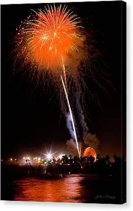 Fireworks As Seen From The Ventura California Pier Canvas Print