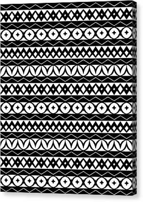 Fair Isle Black And White Canvas Print