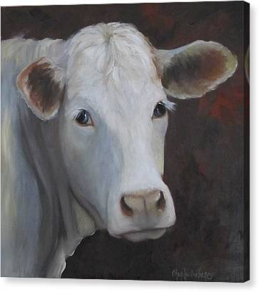Canvas Print featuring the painting Fair Lady Cow Painting by Cheri Wollenberg