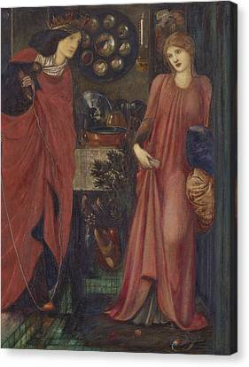 Fair Rosamund And Queen Eleanor Canvas Print by Edward Burne-Jones