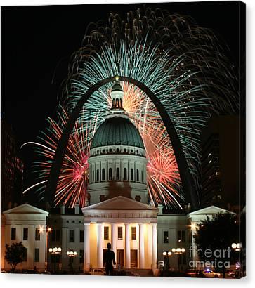 Fair St Louis Fireworks Canvas Print by William Shermer