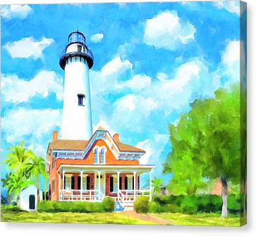Canvas Print featuring the painting Fair Weather On St Simons Island - Georgia Lighthouses by Mark Tisdale