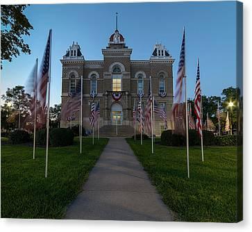 Fairbury Nebraska Avenue Of Flags - September 11 2016 Canvas Print