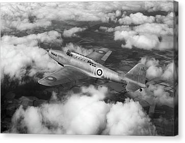 Canvas Print featuring the photograph Fairey Battle In Flight Bw Version by Gary Eason