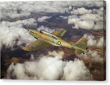 Canvas Print featuring the photograph Fairey Battle In Flight by Gary Eason