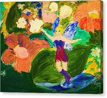Canvas Print featuring the painting Fairies In The Garden by Evelina Popilian