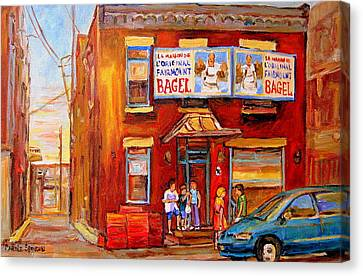 Fairmount Bagel Montreal Street Scene Painting Canvas Print by Carole Spandau
