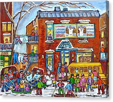 Fairmount Bagel Winter Playground Street Scene Hockey Schoolbus Montreal Memories Carole Spandau     Canvas Print by Carole Spandau