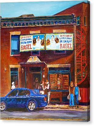 Canvas Print featuring the painting Fairmount Bagel With Blue Car  by Carole Spandau