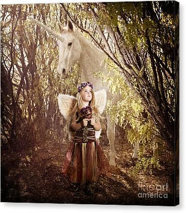 Fairy And Unicorn Canvas Print by Cindy Singleton