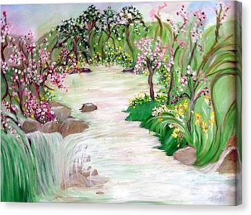 Canvas Print featuring the painting Fairy Blossom Falls by Sherri  Of Palm Springs
