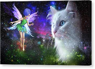Fairy Encounters Cat  Canvas Print