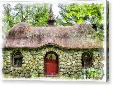 Fairy House Watercolor Canvas Print by Edward Fielding