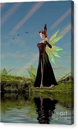 Fairy Lillith By Pond Canvas Print