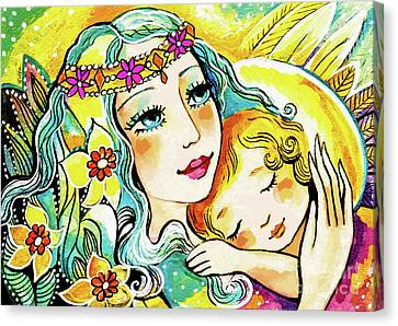 Canvas Print featuring the painting Fairy Mother And Angel Child by Eva Campbell