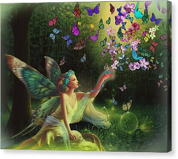 Fairy Of The Butterflies Canvas Print by Edelberto Cabrera