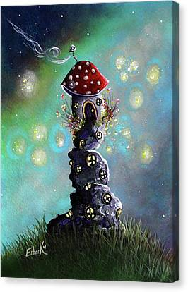 Fairy Paintings - Home For The Night Canvas Print by Shawna Erback