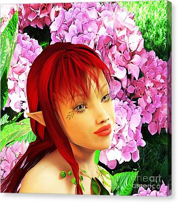 Flower Pink Fairy Child Canvas Print - Fairy Portrait by Methune Hively