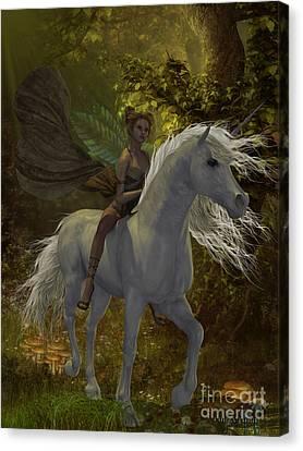 Fairy Rides Unicorn Canvas Print