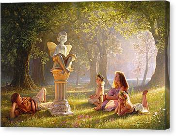 Flower Pink Fairy Child Canvas Print - Fairy Tales  by Greg Olsen