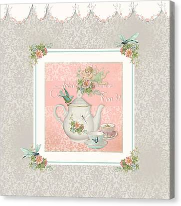 Flower Pink Fairy Child Canvas Print - Fairy Teacups - Tea Party For Two by Audrey Jeanne Roberts
