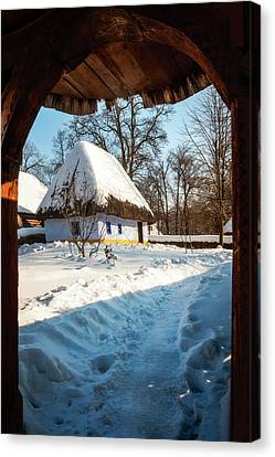 Fairytale Cottage In Winter At The Village Museum In Bucharest Canvas Print