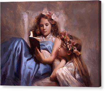 Canvas Print featuring the painting Fairytales And Lace - Portrait Of Girls Reading A Book by Karen Whitworth