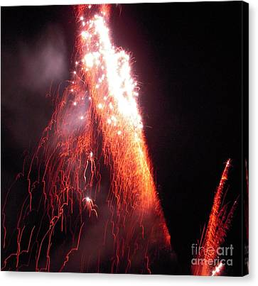 Red Fireworks Canvas Print - Fait In The Night by Vesna Antic