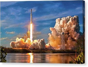 Falcon Heavy Rocket Launch Spacex Canvas Print