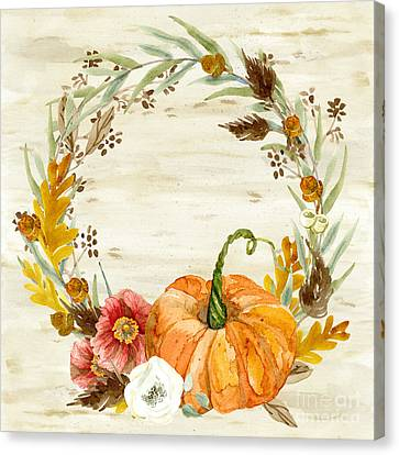 Canvas Print featuring the painting Fall Autumn Harvest Wreath On Birch Bark Watercolor by Audrey Jeanne Roberts