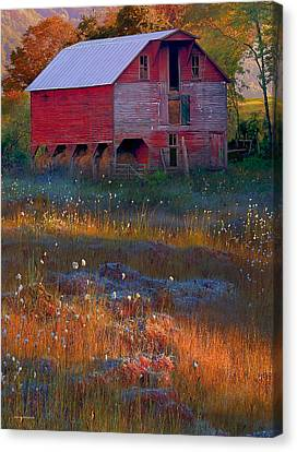 Fall Barn Canvas Print by Ron Jones