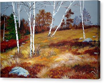 Fall Birch Trees And Blueberries Canvas Print by Laura Tasheiko