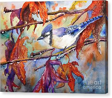 Canvas Print featuring the painting Fall Blue Jay by Priti Lathia