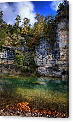 Fall Bluff At Ozark Campground Canvas Print by Michael Dougherty