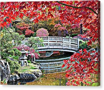 Fall Bridge In Manito Park Canvas Print by Carol Groenen