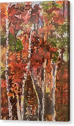 Canvas Print featuring the painting Fall Colors by Geeta Biswas