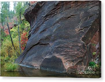 Fall Colors Peek Around Mountain Horizontal Number 1 Canvas Print by Heather Kirk