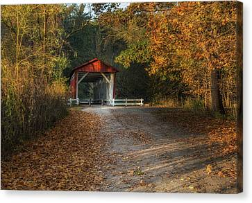 Fall Covered Bridge Canvas Print by Dale Kincaid