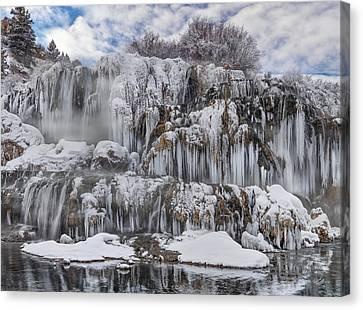 Fall Creek Falls Winter Canvas Print by Leland D Howard