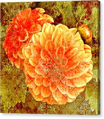 Fall Dahlias Canvas Print by Cathie Tyler