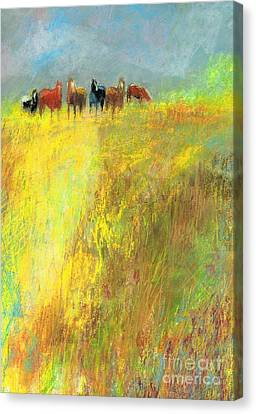 Canvas Print featuring the painting Fall Day On The Mesa by Frances Marino