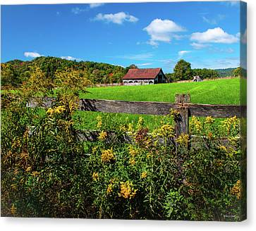 Fall Farm Canvas Print by Rebecca Hiatt