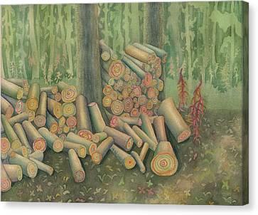 Fall Firewood Canvas Print by Anne Havard