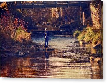 Fall Fishing - Version 2 Canvas Print by Mary Machare