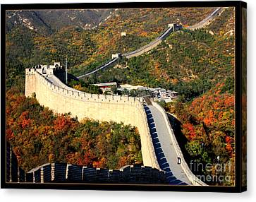 Historic Site Canvas Print - Fall Foliage At The Great Wall by Carol Groenen