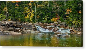 Fall Foliage In Autumn Along Swift River In New Hampshire Canvas Print